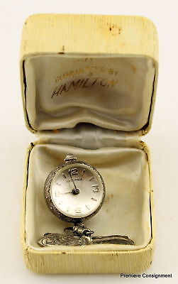 Vintage Huguenin Sterling Silver watch pin/brooch, ladies,  Swiss
