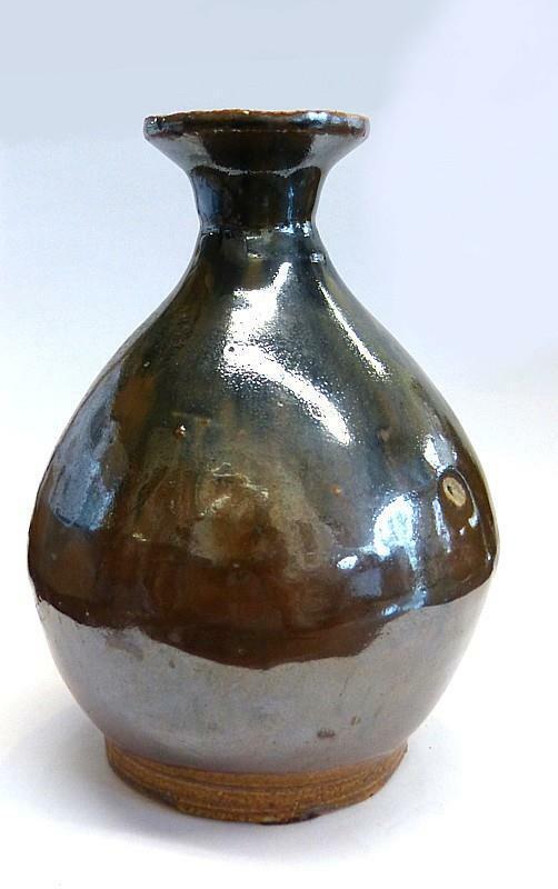 "YUAN DYNASTY HENAN BLACK ON BROWN GLAZED POTTERY  BOTTLE  - 6 1/2"" TALL"