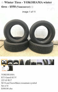 Winter Tires- YOKOHAMA ICE GUARD 225 65 R17