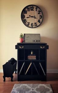 Antique bookshelf/record player stand with its counterpart