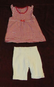 Baby girl top with pants, 9-12 months.