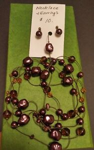Vintage Style Very Long Wine/CitrineNecklace and Earring Set