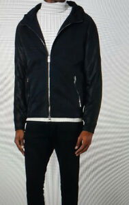 DROME-Leather Hooded Zipped Jacket. Size XL. Made in Italy
