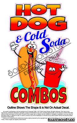 Hot Dog Cold Soda Combo Concession Trailer Food Truck Cart Sign Sticker Decal