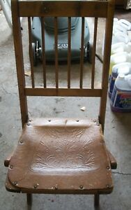 Antique Wood/Leather Folding Chair