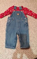 18-24 month Cute fleece lined overalls with shirt