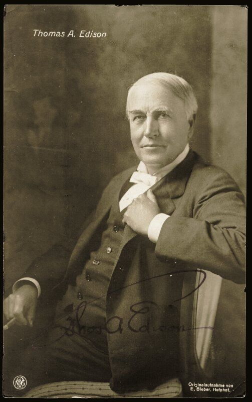 Thomas A. Edison - Picture Post Card Signed