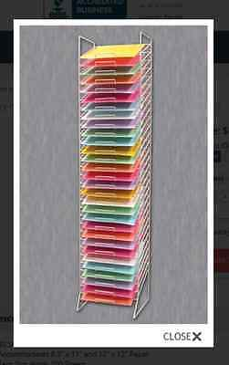"AYS Retail 30 Slot 12"" x 12"" Scrapbooking Tower Paper Storage Rack (White)"