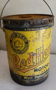 Old Redhead 5 gallon motor oil can cans Red Head Great West