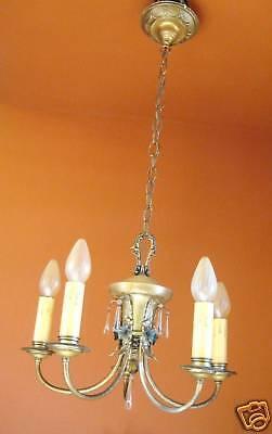 Vintage Lighting pair 1920s Colonial silver chandeliers