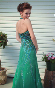 Hand beaded prom gown