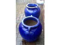 2 matching dark blue glazed garden pots. Fixed price of £55