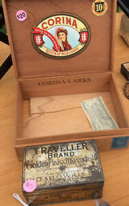 Antique Cuban cigar case & cavendish tin box