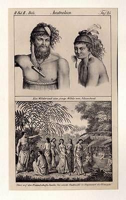 Neuseeland-Australien-Freundschaftsinseln-Ethnologie Lithographie 1830