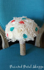 Ivory/ Coral/ Teal Coffee Filter Bouquet/Rustic Wedding Bouquet