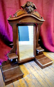 Antique Victorian Dresser-Top Vanity Mirror w Carved Wood