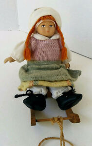 One ALL Hand Made Small Doll on Sleigh  --Pierreonds---