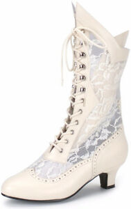 FUNTASMA Victorian Vintage Style Mid Calf Boot with Lace DAME-11