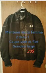 Manteau et 2 paire de gants moto pour femme