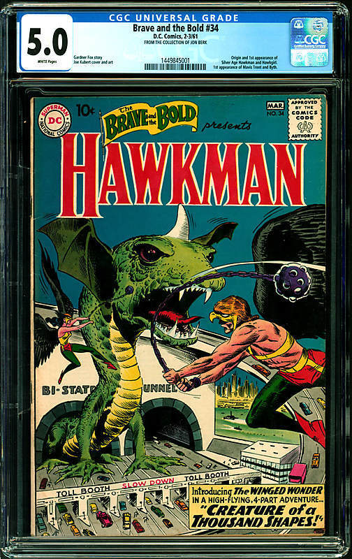 Brave and the Bold #34 CGC 5.0 DC 1961 1st Silver Hawkman! White Pages G7 141 cm