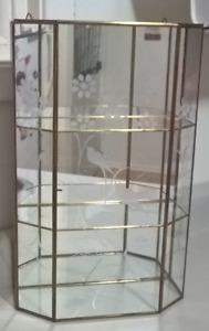 Vintage Brass & Etched Glass Curio Cabinet Display Case