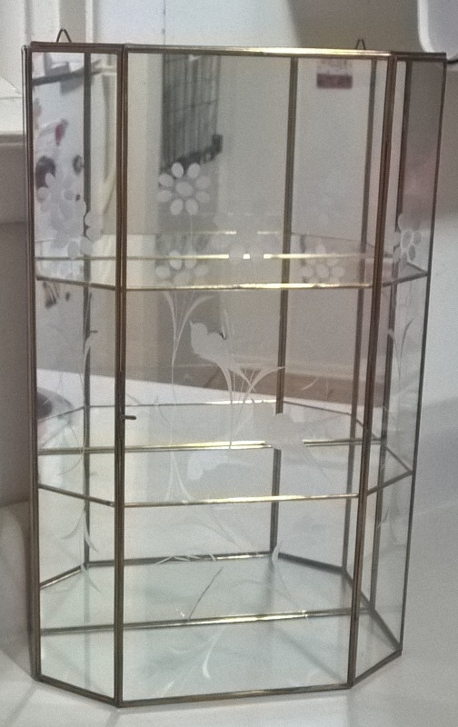 Vintage Brass Amp Etched Glass Curio Cabinet Display Case
