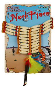 Rosso-indiano-di-legno-COLLANA-LUSSO-Wild-West-Cowboy-amp-INDIANI-costume