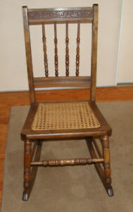 Antique Wooden Rocking Chair with Cane Seat