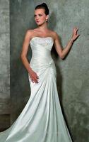 Beaded Satin Wedding dress by Blu by Mori Lee