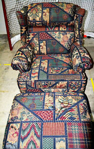 Arm chair and matching ottoman London Ontario image 2