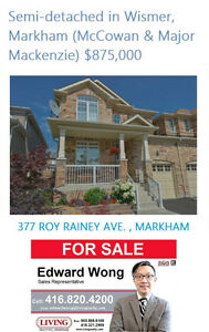 SEMI DETACHED HOUSE LINKED BY GARAGE IN MARKHAM WISMER $875,000