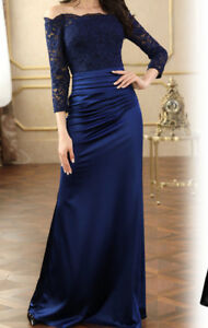 Beautiful lace off the shoulder evening gown
