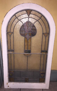"""Beautiful Old Church Stained Glass Window - 42""""x24"""""""