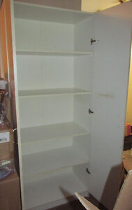 6 Foot Tall White Storage Cabinet with Doors