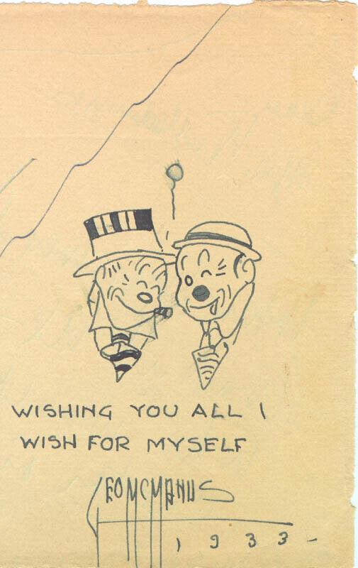 GEORGE McMANUS - CARTOON SIGNED CIRCA 1933