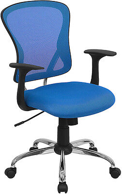 Chrome Base Blue Mesh Computer Office Desk Chair