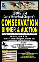 Delta waterfowl 1000 islands chapter dinner and banquet