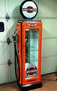 Kustom Made Harley Davidson Display Cabinet, Gas Pump Petro