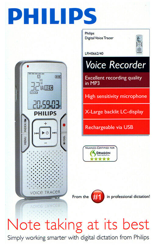 phillips voice tracer digital recorder lfh0662 new