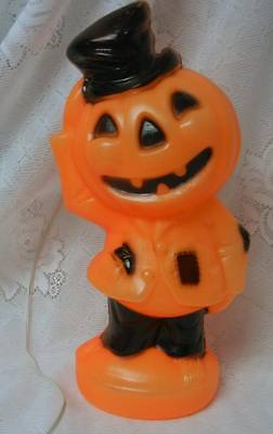 "Vintage Empire 14"" Halloween Pumpkin Jack O Lantern Light Up Blowmold Decoration"