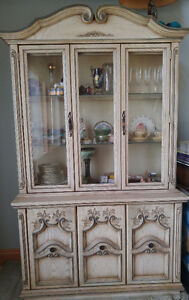 Vintage French Provincial White Washed Deilcraft China Cabinet