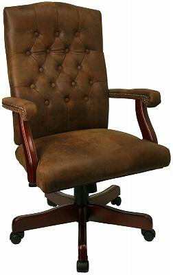 Brown Traditional Executive Computer Office Desk Chair