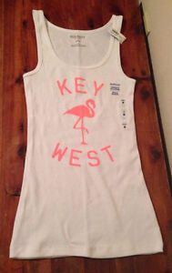 Old Navy girl's white neon pink Flamingo tank top Size XL 14