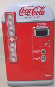 Coca Cola Tin Container Vending Machine with Lid Collectible Tin