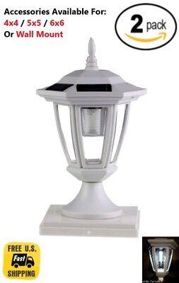Solar Light White Post Cap White LED 4x4 /5x5 /6x6 Or Wall Mount Hexagon 2 Pack ()