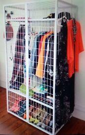 White cage wardrobe