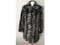 Dennis Basso Black, White & Grey Striped Faux Fur Coat - Size XS - Brand new without tags