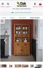 Oak Furniture Land Rustic Solid Oak Small Welsh Dresser/ Sideboard
