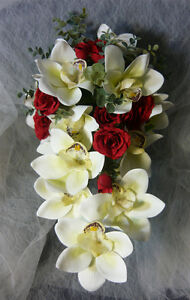 White Orchards and Red Rose Wedding Bouquet Flower Set. London Ontario image 2