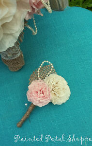 Coffee Filter Boutonniere/Rustic Wedding Flowers/Groom's Flower Belleville Belleville Area image 4